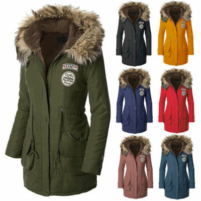 NEW Womens Fur Collar Hooded Quilted Jacket Slim Winter Parka Long Outwear Coat