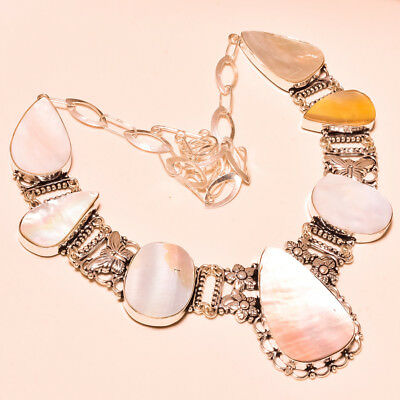 """Mother Of Pearl Exclusive Vintage Look Handmade Gemstone Jewelry Necklace 18"""""""