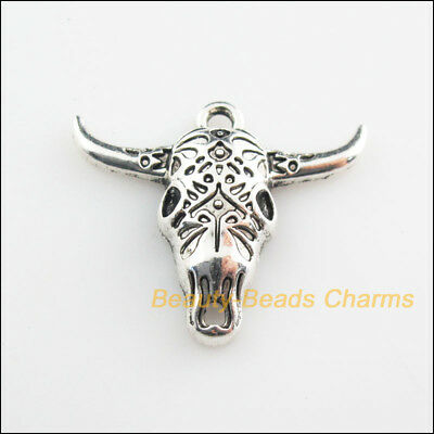 2Pcs Tibetan Silver Tone Animal Bullhead Charms Pendants 25x29mm