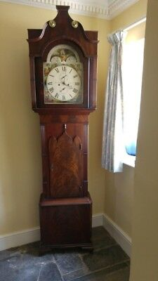 antique longcase grandfather clock moon roller face but standard 7 day movement