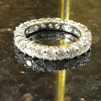 Certified 2.00Ct Diamond Eternity Band Solid 14K White Gold Engagement Ring