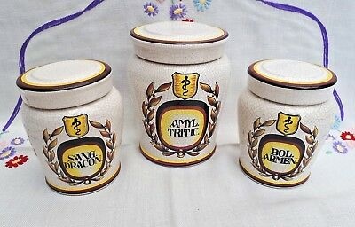 Collection of 3 Antique Style Apothecary Chemist Jars Herr Fayence Germany