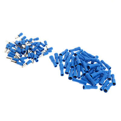100Pcs Heat Shrink Butt Connector Insulated Male Female Terminal Set Blue