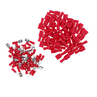 Wire Connectors Terminals Kit Electrical Wiring Insulated 100Pcs Male Female