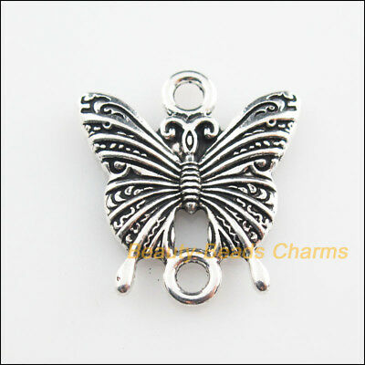 2Pcs Tibetan Silver Tone Animal Butterfly Charms Connectors 23x25mm