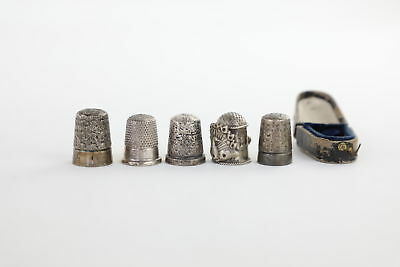 5 x Vintage Hallmarked SOLID SILVER Thimbles Mixed Inc.Charles Horner -43g