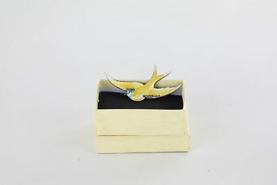 True Vintage .925 STERLING SILVER Swallow Brooch With Guilloche Enamel Boxed 5g