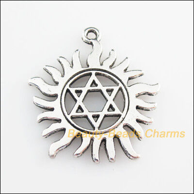 2Pcs Tibetan Silver Tone Sun Star Flower Charms Pendants 31x34mm