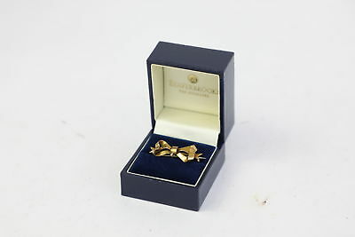 Fantastic Antique Hallmarked 9ct Gold Bow Brooch W/Loop For Charm BOXED -1.6g