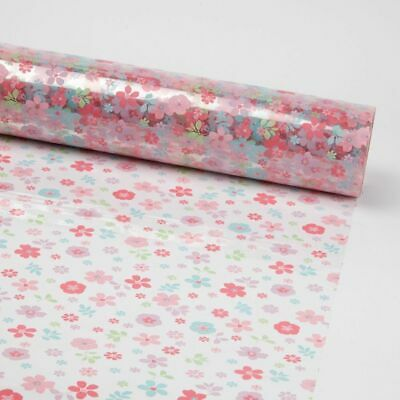 PINK SUMMER FLOWERS CELLOPHANE FILM on Clear Plain Florist Gift Hamper Wrap Roll