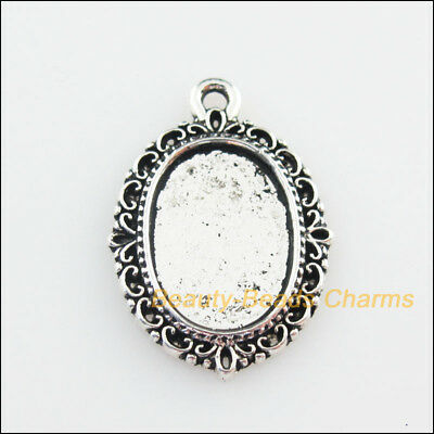 8Pcs Tibetan Silver Tone Oval Picture Frame Flower Charms Pendants 16.5x23mm