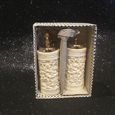 Antique Ivory Stone Carved Salt And Pepper Shakers