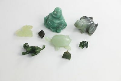 Lot of 8 x Vintage JADE & NEPHRITE JADE Carved Figures Mixed Designs