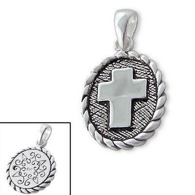 925 Sterling Silver Ancient Cross Pendant Necklace (Chain Included)