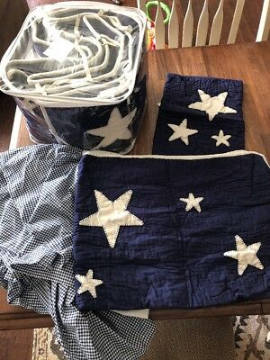 Pottery Barn Kids Star Pattern Crib Bumper Quilt Sham 4 Piece Set Quilt EUC Navy