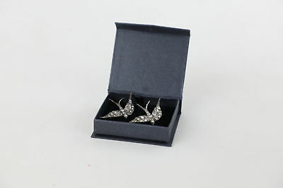2x Gorgeous 1930s .925 Sterling Silver Paste Set Swallow BROOCHES 18g