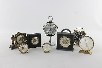 Lot of 8 x Vintage HAND-WIND Mantle/Alarm Clocks WORKING Mixed Designs