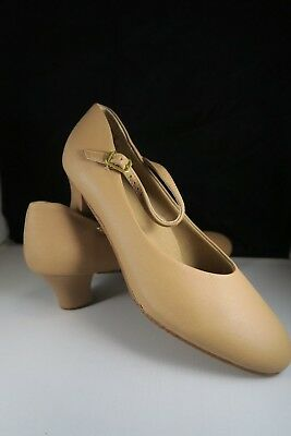 NEW Professional Song and Dance Chorus shoes buckle BEIGE low heal