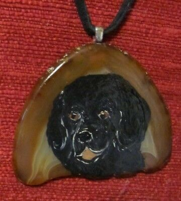 Newfoundland hand painted on natural Agate Slice pendant/bead/necklace