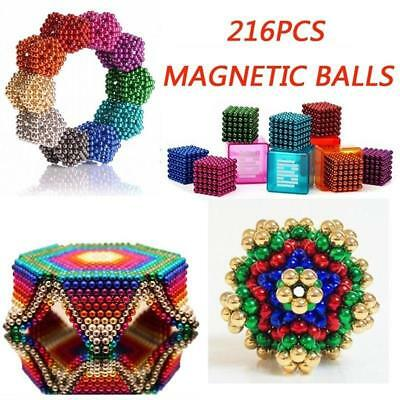 216* 3/5mm Magic Magnetic DIY Balls Magnet Sphere Neodymium Bead Cube Kids Adult