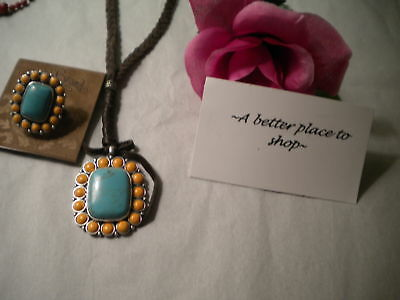 LUCKY~TURQUOISE/ORANGE~ semI precious necklace/ring + GIFT BOX  NWT
