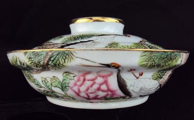 Marked, V-fine Chinese Antiques Porcelain Oriental Famille Rose Bowl & Cover - A