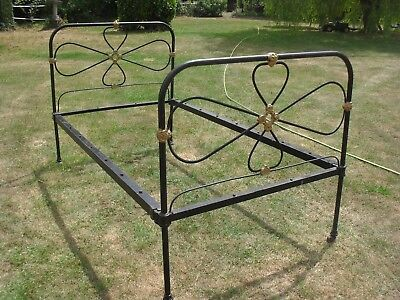 Antique iron Bed frame - Single - Black and Gold