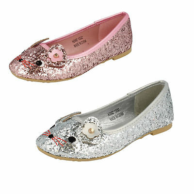 Girls Pink / Silver Spot on Glitzy Sparkly Slip On Dolly Shoes H2R492