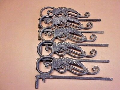 REDUCED! Five (5)  Vtg Cast Iron Curtain Brackets Drapes Awesome Leaf Design