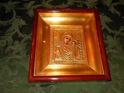 Antique Russian Orthodox Icon Virgin Mary Madonna and Jesus with Brass Oklad