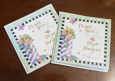 """Mary Engelbreit mini notecards, lot of 2 """"Plant a seed of Friendship..."""""""
