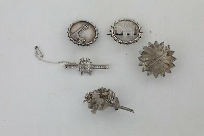 Lot of 5 x Vintage .925 STERLING & .830 SILVER Brooches Mixed Designs - 41g