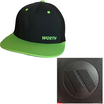 Worth Embossed Hat by Richardson (R165) Black/Neon Green/ Embossed Worth SM/MD