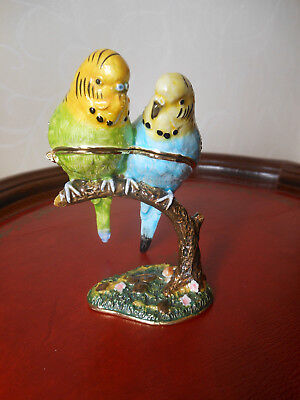 Very Pretty Enamel Trinket  or Pill Box - Budgerigars / Budgies  Green & Blue