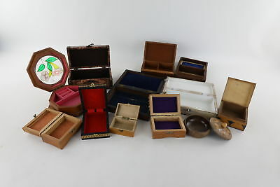 Lot of 12 x Vintage WOOD/TREE Mixed Trinket & Jewellery Boxes
