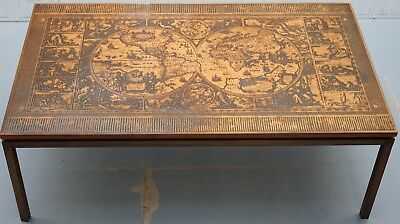 Engraved Copper Plate Campaign Coffee Table World Map Roman Calendar Months