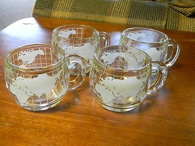 4 Nestle Nescafe World Globe Atlas Map Etched Frosted Glass Coffee Tea MUGS
