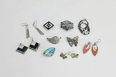 Lot of 10 x Vintage Mixed ALPACA/ABALONE Inlay Brooches & Earrings