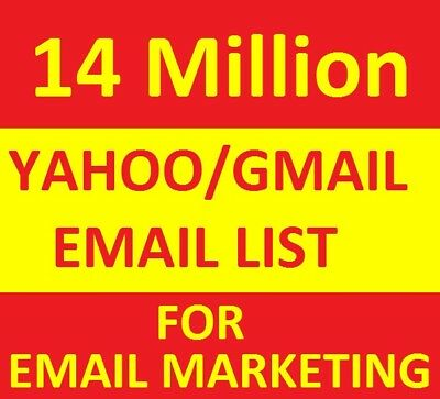 14 MILLION  Yahoo/Gmail Email List For Email Marketing
