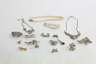Lot of 15 x True Vintage MARCASITE Themed Mixed Costume Jewellery Inc. Brooches