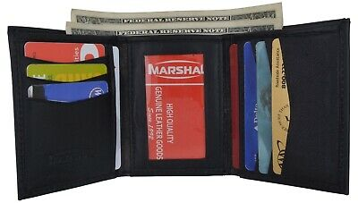 Mens Slim Trifold Wallet Leather Black ID Card Wallet With Hidden Card Slot RARE