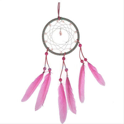 2018 Dream Catcher with Feather Wall Car Hanging Decoration Ornament Pink FastUS