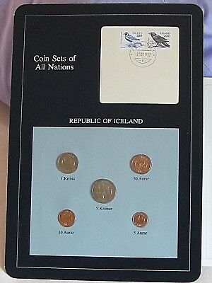 Coin Sets of All Nations Iceland w/card & Stamps 1981 UNC