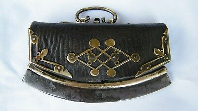 GENUINE ANTIQUE MONGOLIAN TIBETAN STEEL LEATHER FLINT TINDER STRIKER POUCH 19thC