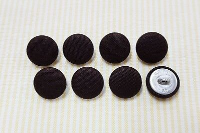 8 Cotton Solid Dark Brown Color Fabric Covered Buttons - 20mm