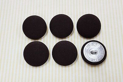 6 Cotton Solid Dark Brown Color Fabric Covered Buttons - 30mm