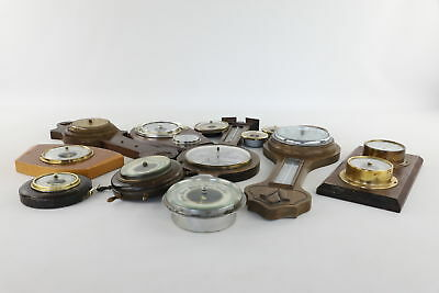 Job Lot 12x Assorted Vintage BAROMETERS inc Ships Wheel, Wood, Brass, Tulip