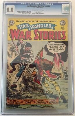 Star Spangled War Stories #14 Cgc 8.0 Vf Dc 1953 C/ow Pages 3Rd Highest