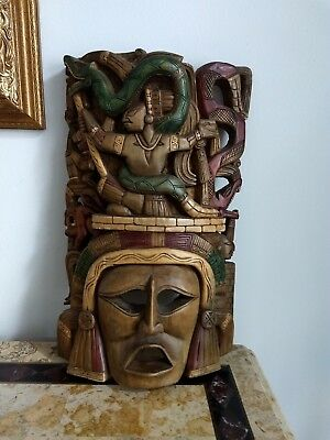 Hand Carved Wood Indonesian?African?Mayan?Buddha? Mask