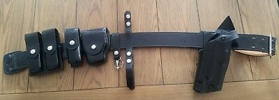 Vintage Police Duty Belt sam brown Glock 22 holster handcuff magazine LAPD style